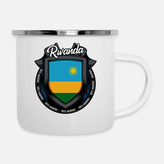 Patriot Mugs & Drinkware - Rwandan coat of arms Rwanda Cool signboard gift idea - Enamel Mug white