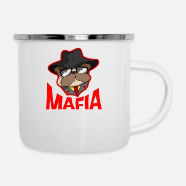 Gangster Mafia gangster pug with cigar gift - Enamel Mug