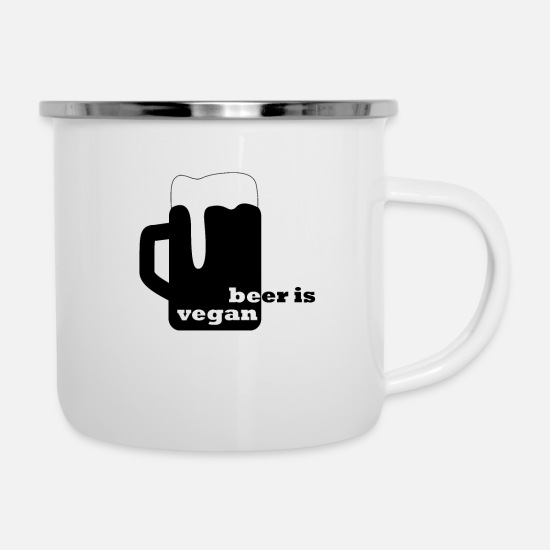 Drinking Mugs & Drinkware - beer is vegan be vegan - Enamel Mug white