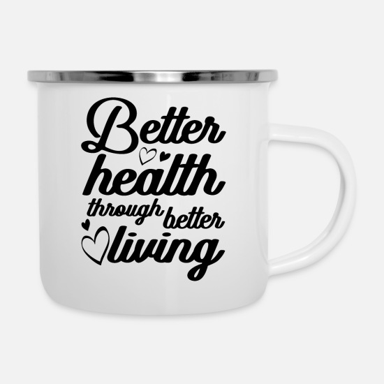 Love Mugs & Drinkware - Vegan healthy - Enamel Mug white