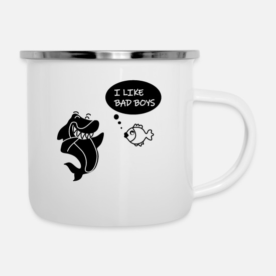 Shark Mugs & Drinkware - Bad Boys - Enamel Mug white