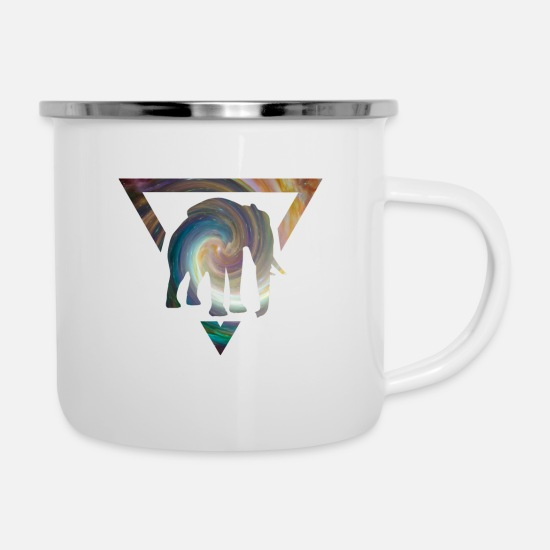 Star Mugs & Drinkware - Elephant in the triangle from the universe - Enamel Mug white