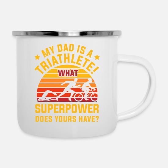 Triathlète Mugs et récipients - Triathlon Sport Triathlete Gift · Super Power - Mug émaillé blanc