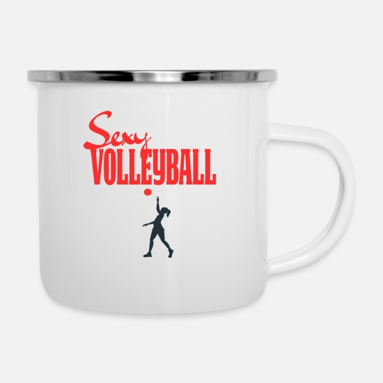 Sports Mugs & Drinkware - volleyball - Enamel Mug white