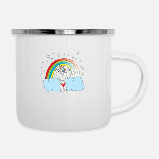 Funny Mugs & Drinkware - Unicorn Dad Papa, best of, Daddy, best grandpa, - Enamel Mug white