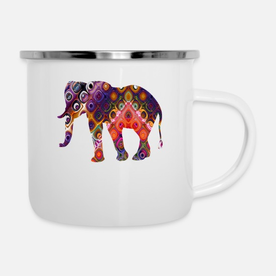 Gift Idea Mugs & Drinkware - oriental elephant with flowing mosaic - Enamel Mug white