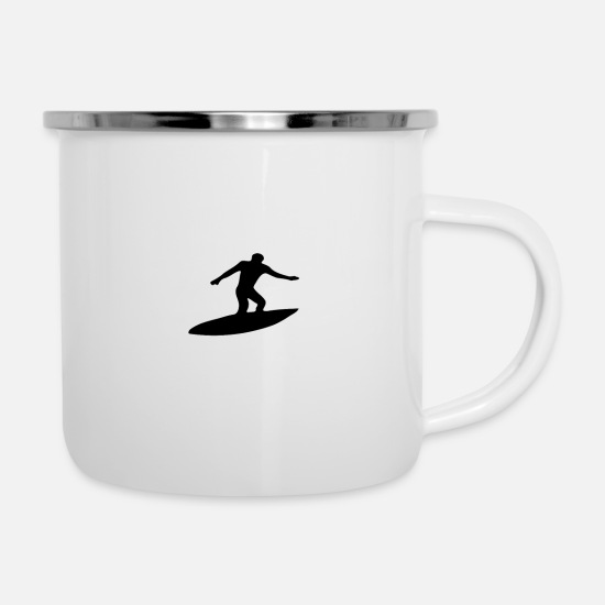 Surfer Mugs & Drinkware - Surfing water sport sea gift · wave is waiting - Enamel Mug white