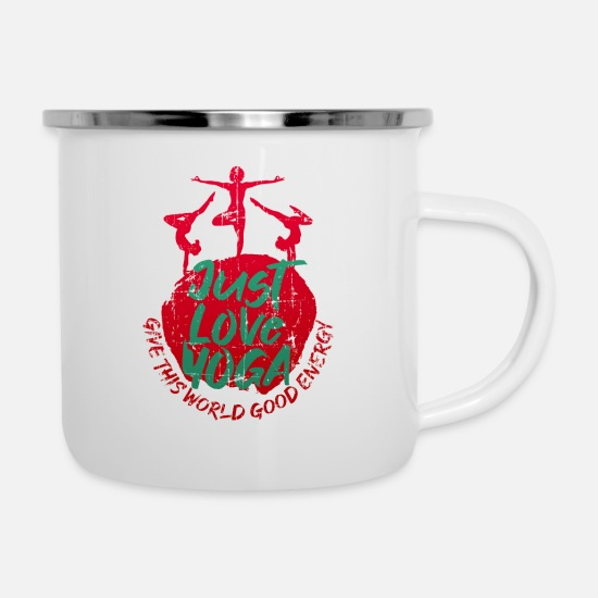 Love Mugs & Drinkware - Yoga love peace meditation - Enamel Mug white
