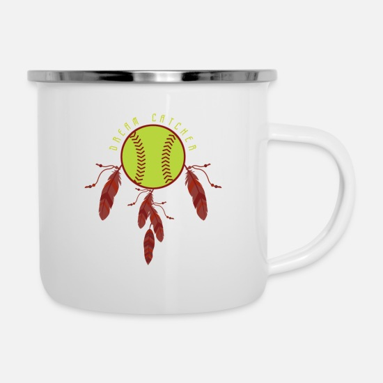 Birthday Tassen & Becher - Softball Traumfänger - Emaille-Tasse Weiß