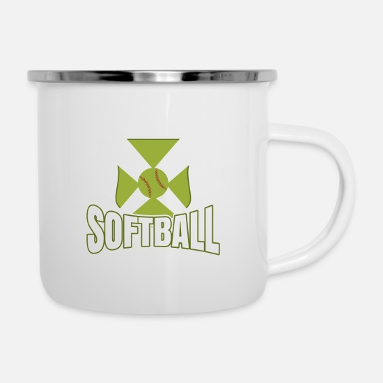 Birthday Tassen & Becher - Softball - Emaille-Tasse Weiß