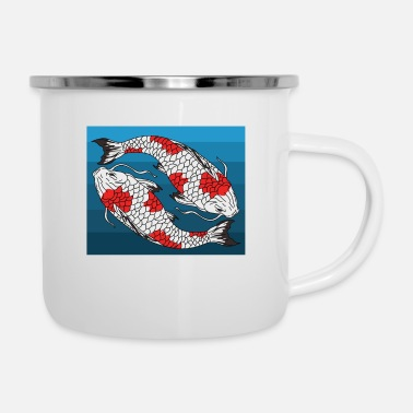Koi Japanese fish art - Enamel Mug