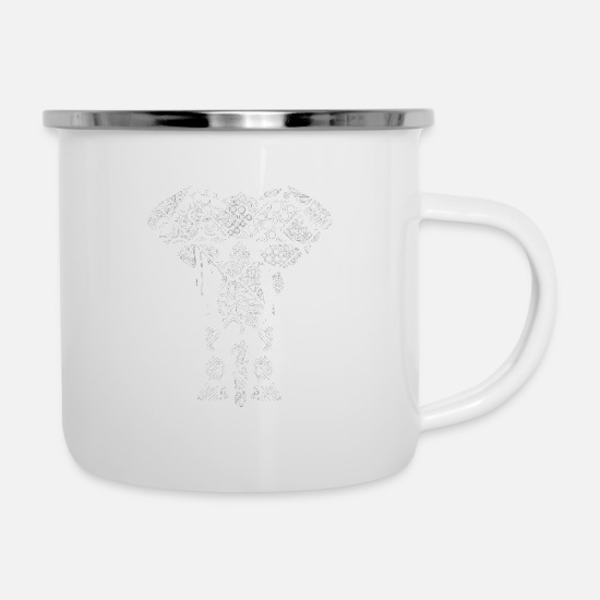 Love Mugs & Drinkware - Elephant Pattern Outline Lace Elegant Deco Gift - Enamel Mug white