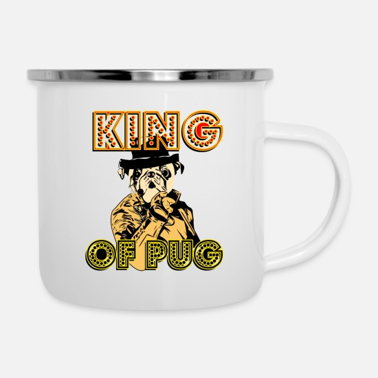 Love Mugs & Drinkware - King is awesome cool w / crown dope flawless gear - Enamel Mug white