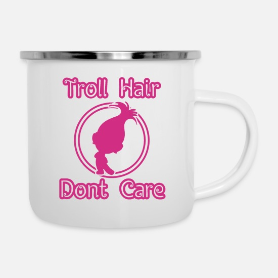 Gift Idea Mugs & Drinkware - Troll Hair - Dont Care - Enamel Mug white