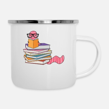 Bookworm reading book nerd reading book library - Enamel Mug