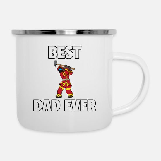 Birthday Mugs & Drinkware - Firefighter firefighter dad dad fire gift - Enamel Mug white