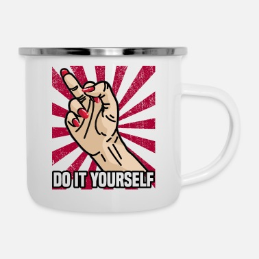 Ur DO IT YOURSELF FINGERING Mittel Finger starke Frau - Emaille-Tasse