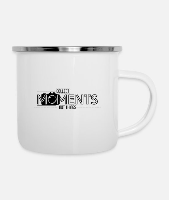 Lost Mugs & Drinkware - Collect Moment Not Things | camera Lens | quota - Enamel Mug white