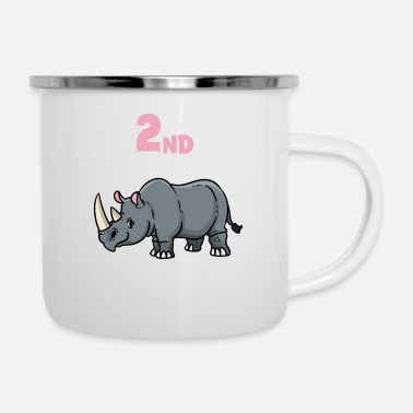 Wide Mouth Rhino 2 birthday rhinoceros for kids that will become two - Enamel Mug