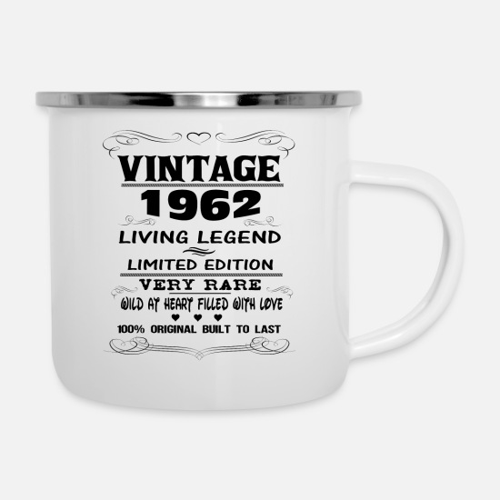 1962 Mugs & Drinkware - VINTAGE 1962-LIVING LEGEND - Enamel Mug white