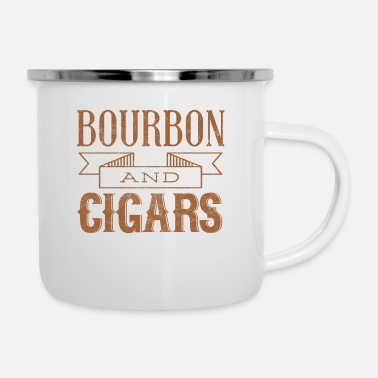 Bourbon Bourbon and Cigars - Enamel Mug