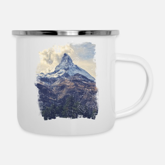 Explorer Mugs & Drinkware - Mountains & Diamonds - Enamel Mug white