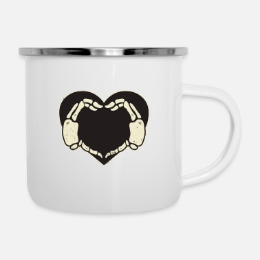 Hands Heart Skeleton - Enamel Mug