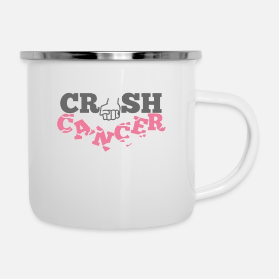 Chemo Mugs & Drinkware - Crush Cancer - Enamel Mug white
