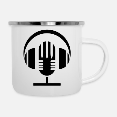 Mic and Headphones - Emaille-Tasse