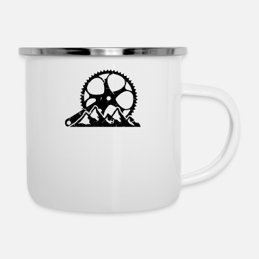 Ride Bike Bicycle crank chainring mountain mountain landscape - Enamel Mug