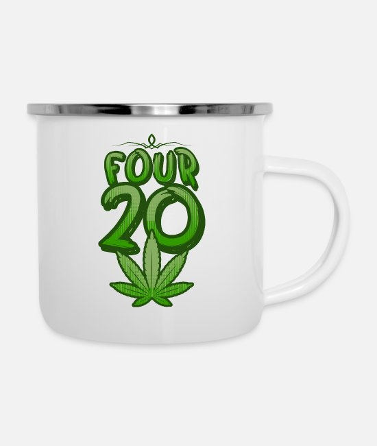 Hemp Mugs & Drinkware - Marijuana smoking - Enamel Mug white