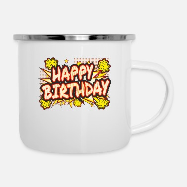 Blasen Explosion Blase Happy Birthday2 - Emaille-Tasse