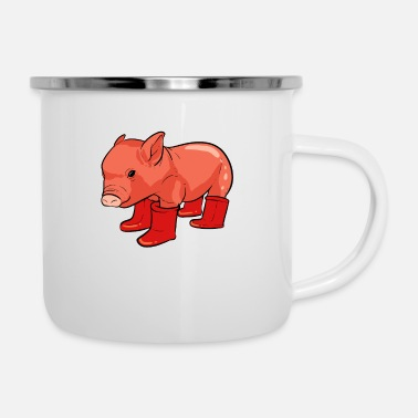Prince Pig Rainy Day Adventurous and nature lover Ges - Enamel Mug