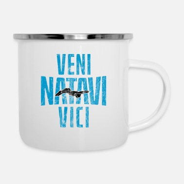 Pool Swimmer Veni Natavi Vici gift for swimmers - Enamel Mug