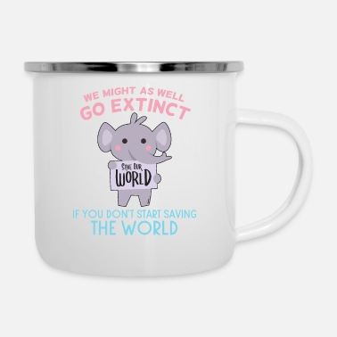 Safari Elephant Africa environmental protection extinction - Enamel Mug