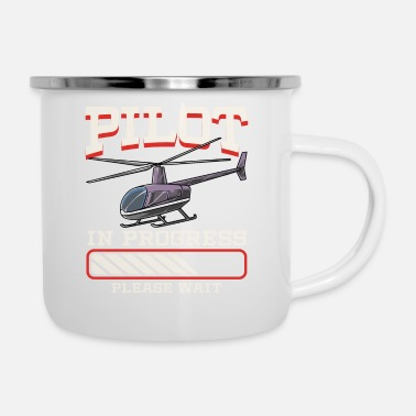 Pilot Funny Pilot In Progress Please Wait Helicopter - Enamel Mug