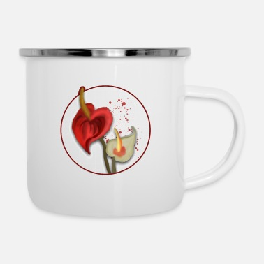 Sheet Roto blooming flamingo flower - Enamel Mug