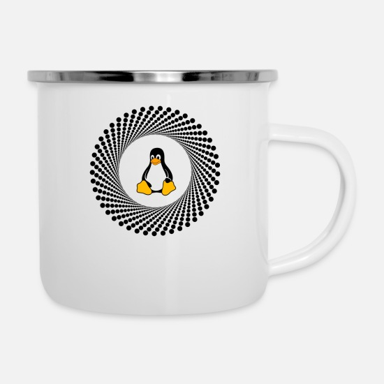 Computer Mugs & Drinkware - Penguin circle pc computer - Enamel Mug white
