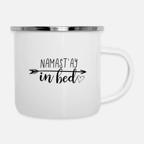 Birthday Mugs & Drinkware - Namastay in bed - name day in bed - name tag - Enamel Mug white