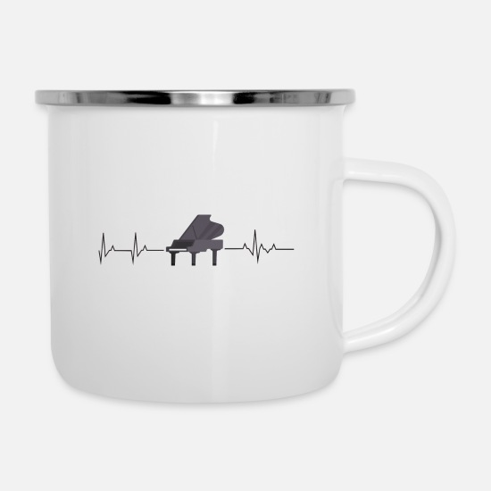 Keyboard Mugs & Drinkware - Piano heartbeat - Enamel Mug white