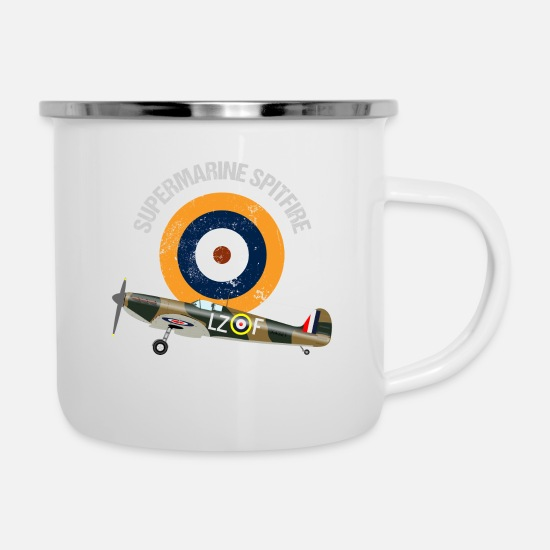 Royal Mugs & Drinkware - Retro Design Supermarine Spitfire Warbird Airplane - Enamel Mug white