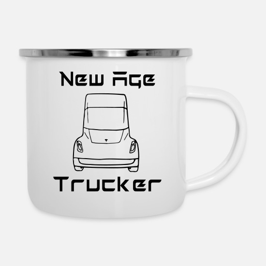Pilot Mugs & Drinkware - New Age Trucker - Enamel Mug white