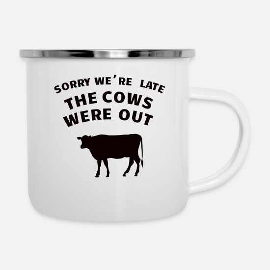 The Cows Were Out Tassen & Becher - COW / FARMING: The Cows Were Out - Emaille-Tasse Weiß