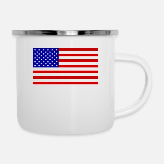 Gift Idea Mugs & Drinkware - plain USA flag! Gift idea vacationers - Enamel Mug white