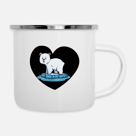 Polar Mugs & Drinkware - Polar Bear Fantasy Arctic Wildlife North Pole Heart - Enamel Mug white