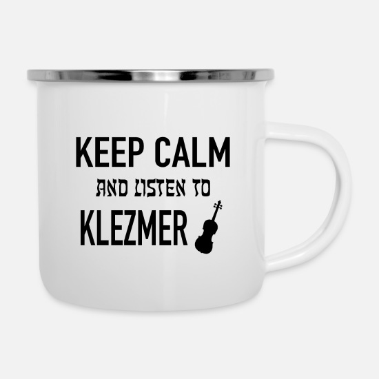 Gift Idea Mugs & Drinkware - Yiddish Klezmer Musician Accordion Cymbal - Enamel Mug white