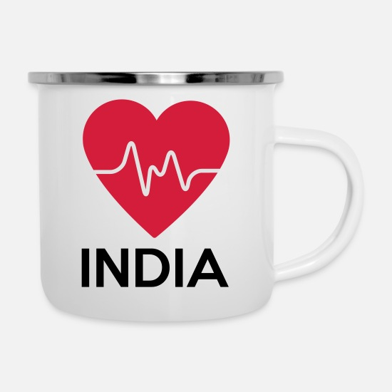 Love Mugs & Drinkware - heart India - Enamel Mug white