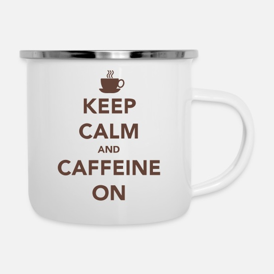 Caffeine Mokken & toebehoor - Keep Calm and Caffeine On - Emaille mok wit