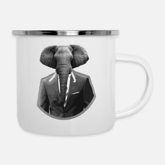 Pachyderm Mugs & Drinkware - Elephant in a suit - Enamel Mug white