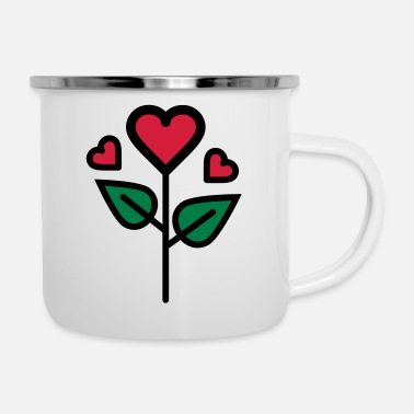 Valentine's Rose in heart shape - Enamel Mug
